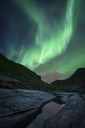 Norway, Lofoten Islands, Haukland Beach, northern lights - WVF01048
