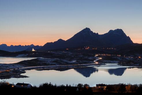 Norway, Lofoten Islands, view to Leknes at twilight - WVF01078