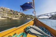 Portugal, Porto, Douro river, pleasure boat and Luiz I Bridge in the background - THAF02151