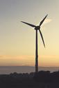 Germany, East Frisia, Wind turbine at sunrise - DWIF00903