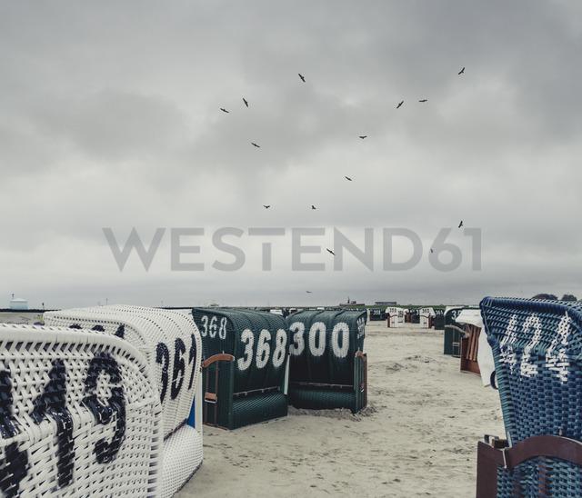 Germany, East Frisia, Neuharlingersiel, Hooded beach chairs at the beach - DWIF00906 - Dirk Wüstenhagen/Westend61