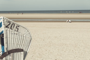 Germany, Spiekeroog, hooded beach chair, partial view - DWIF00907