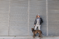 Cool woman with her dog - JASF01855