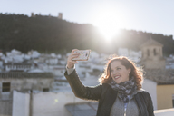 Young woman taking selfie with smartphone - JASF01864