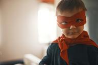 Portrait of funny little boy dressed up as a superhero - ZEDF01316