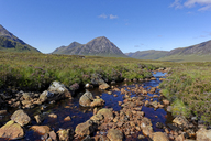 United Kingdom, Scotland, Highland, Glencoe, Glen Etive, Buachaille Etive Mor, Coupal river with red rocks - LBF01919