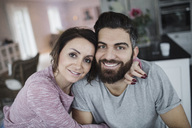 Portrait of happy mid adult couple at home - MASF02125