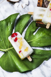 Pina Colada popsicle with candied cherries and pineapple on leaf - RTBF01164