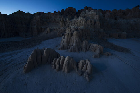 Cathedral Gorge State Park against clear sky at dusk - CAVF35571
