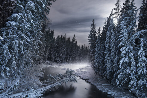 Scenic view of frozen river amidst snow covered trees - CAVF35736