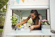 Female owner arranging potted plant on window at food truck - MASF02475