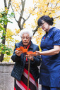 Senior woman showing maple leaves to caretaker in park - MASF02887