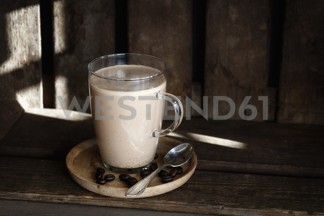 Glass of Smoothie with plant milk and espresso - EVGF03354