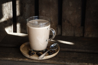Glass of Smoothie with plant milk and espresso - EVGF03354