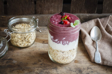 Glass of Berry Smoothie, natural yoghurt and cereals - EVGF03360