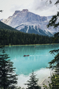 High angle scenic view of Emerald Lake against mountains - CAVF36499