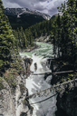 High angle scenic view of waterfall at Jasper National Park - CAVF36544