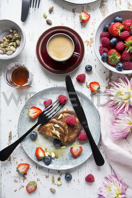Directly above shot of breakfast served on table - MASF03154