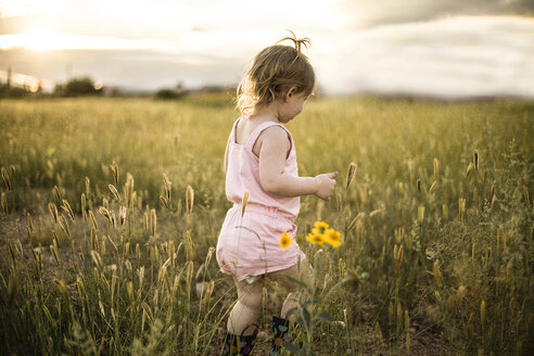Girl walking amidst grassy field against sky - CAVF37699
