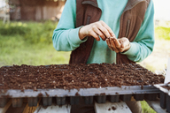 Midsection of woman planting seeds at farm - CAVF38030