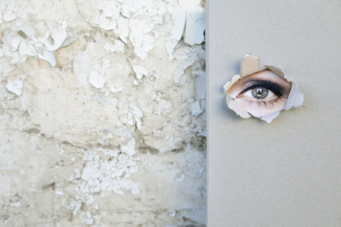 Book with eye looking through the cover  leaning against weathered wall - PSTF00106