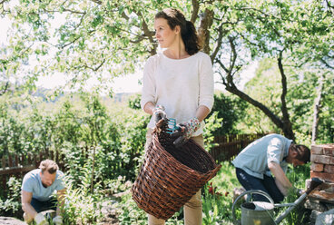 Woman carrying wicker basket with men gardening in background at yard - MASF04562