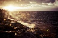 Waves rushing on rocks during sunset - MASF04595