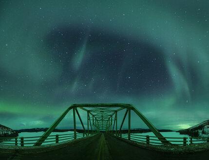 Majestic view of aurora borealis over Alaska Highway Bridge - CAVF38647