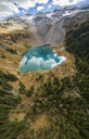 High angle view of Blue Lake amidst mountains - CAVF38716