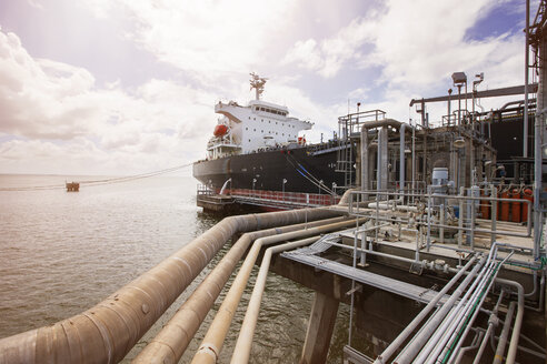 View of pipelines and oil tanker - CAVF38800