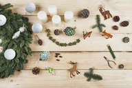 Advent wreath decoration items, self-made advent wreath with real fir tree green, DIY, deer, cones, candles, wire, pliers - GWF05508