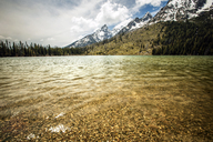 Scenic view of lake against cloudy sky at Grand Teton National Park - CAVF40645
