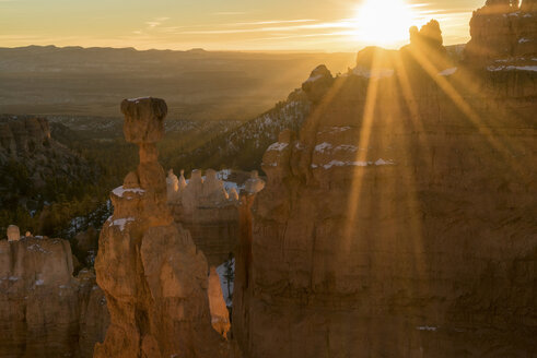 Scenic view of Bryce Canyon National Park against sky during sunrise - CAVF40930
