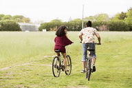 Rear view of two friends riding bicycle on field - CAVF41038