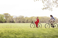 Young couple riding bicycles on field - CAVF41041
