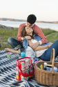 Man kissing girlfriend during picnic on field - MASF04905