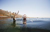 Portrait of excited man holding large crab while swimming in sea - CAVF42170