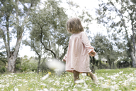 Little girl walking on flower meadow - KMKF00198