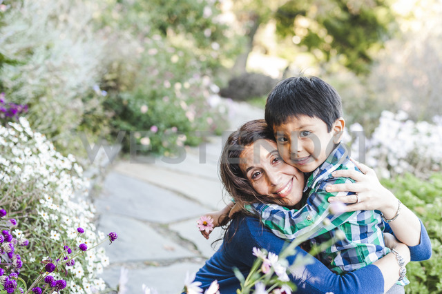 High angle portrait of happy mother and son at park - CAVF43655