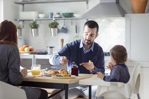 Family having breakfast in kitchen at home - CAVF44483