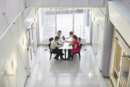 High angle view of business people working together at desk - MASF06299