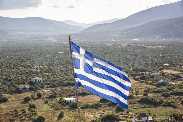 Greece, Peloponnese, Arcadia, Paralia Astros, Flag of Greece, view to fertile plain of Astros - MAMF00071