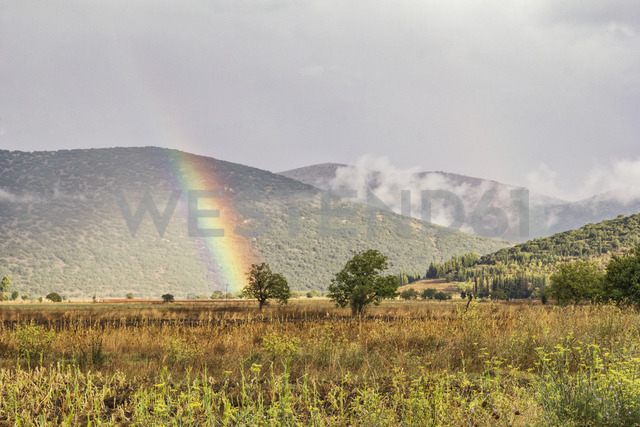 Greece, Peloponnese, Landscape and rainbow - MAMF00074