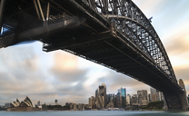 Australia, New South Wales, Sydney, Skyline with Sydney Opera House and Sydney Harbour Bridge - MKFF00342