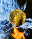 Bitcoin with flame and smoke - EJWF00866