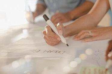 "Creative female entrepreneur writing ""Dream Big"" on poster - HOXF03392"