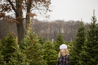 Side view of cute girl looking at pine trees while standing in farm - CAVF46012