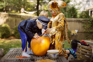 Brothers carving pumpkin on table at yard during Halloween - CAVF46594