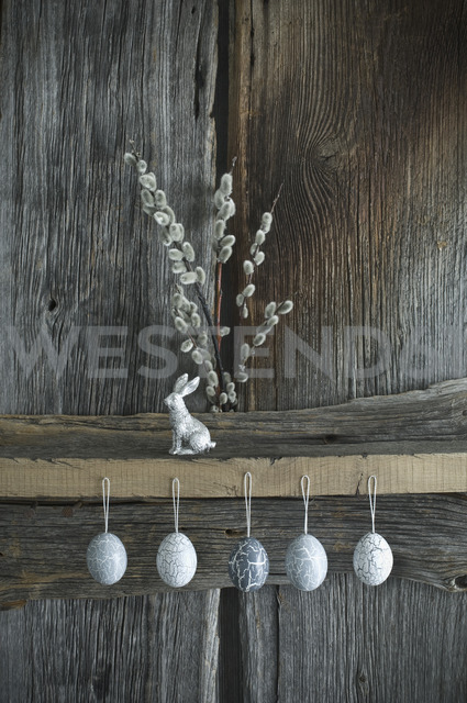 Hand-painted Easter eggs, Pussy Willow twigs and a silver Easter bunny - ASF06174