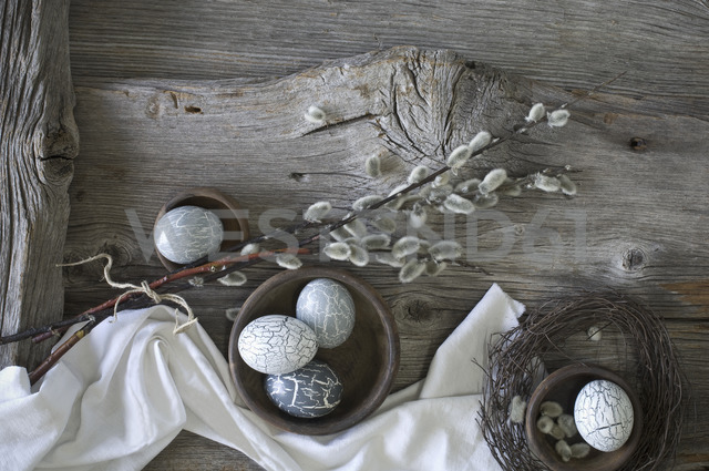 Hand-painted Easter eggs, Pussy Willow twigs and cloth on wood - ASF06177